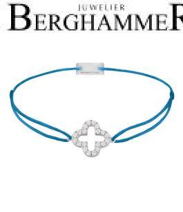 Filo Armband Textil Petrol Cloverleaf 925 Silber rhodiniert 21204654