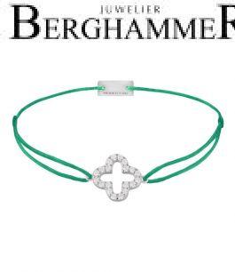 Filo Armband Textil Grasgrün Cloverleaf 925 Silber rhodiniert 21204655