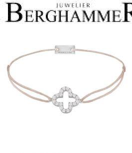 Filo Armband Textil Hellrosa Cloverleaf 925 Silber rhodiniert 21204657