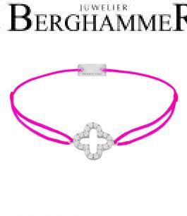 Filo Armband Textil Neon-Pink Cloverleaf 925 Silber rhodiniert 21204660