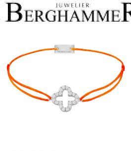 Filo Armband Textil Neon-Orange Cloverleaf 925 Silber rhodiniert 21204661