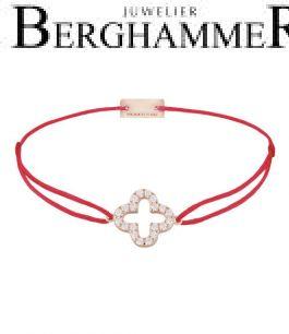 Filo Armband Textil Rot Cloverleaf 925 Silber roségold vergoldet 21204662