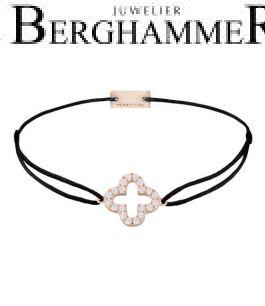 Filo Armband Textil Schwarz Cloverleaf 925 Silber roségold vergoldet 21204663