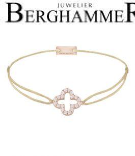 Filo Armband Textil Champagne Cloverleaf 925 Silber roségold vergoldet 21204664