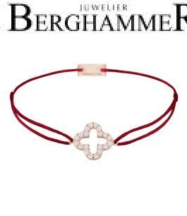 Filo Armband Textil Weinrot Cloverleaf 925 Silber roségold vergoldet 21204666