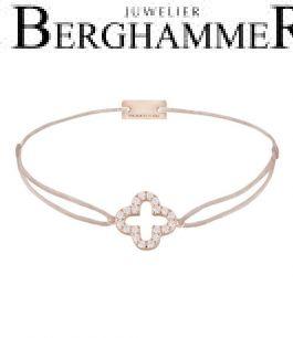 Filo Armband Textil Beige Cloverleaf 925 Silber roségold vergoldet 21204668