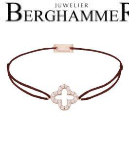 Filo Armband Textil Braun Cloverleaf 925 Silber roségold vergoldet 21204669