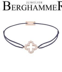 Filo Armband Textil Grau-Lila Cloverleaf 925 Silber roségold vergoldet 21204670