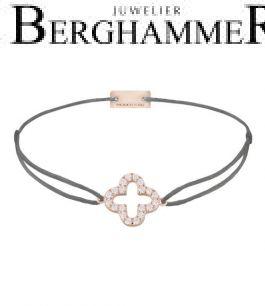 Filo Armband Textil Anthrazit Cloverleaf 925 Silber roségold vergoldet 21204671