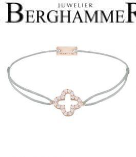 Filo Armband Textil Hellgrau Cloverleaf 925 Silber roségold vergoldet 21204672