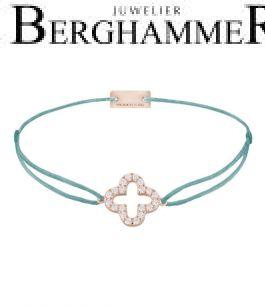 Filo Armband Textil Türkis Cloverleaf 925 Silber roségold vergoldet 21204674