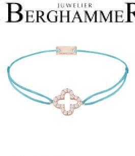 Filo Armband Textil Hellblau Cloverleaf 925 Silber roségold vergoldet 21204675