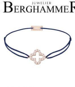 Filo Armband Textil Dunkelblau Cloverleaf 925 Silber roségold vergoldet 21204677