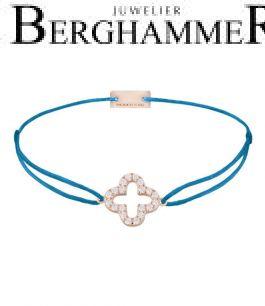 Filo Armband Textil Petrol Cloverleaf 925 Silber roségold vergoldet 21204678