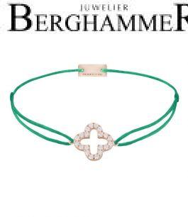 Filo Armband Textil Grasgrün Cloverleaf 925 Silber roségold vergoldet 21204679