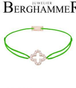 Filo Armband Textil Neon-Grün Cloverleaf 925 Silber roségold vergoldet 21204680