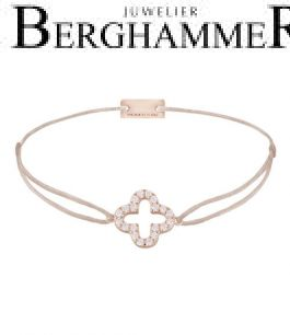 Filo Armband Textil Hellrosa Cloverleaf 925 Silber roségold vergoldet 21204681