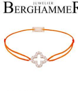Filo Armband Textil Neon-Orange Cloverleaf 925 Silber roségold vergoldet 21204685