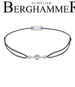 Filo Armband Textil Grau-Lila Fashion 925 Silber rhodiniert 21204694