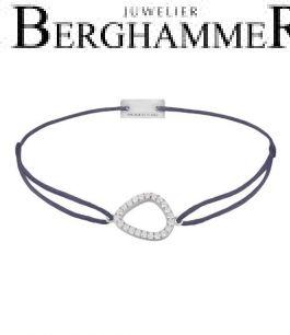 Filo Armband Textil Grau-Lila Fashion 925 Silber rhodiniert 21204742