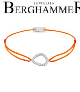Filo Armband Textil Neon-Orange Fashion 925 Silber rhodiniert 21204757