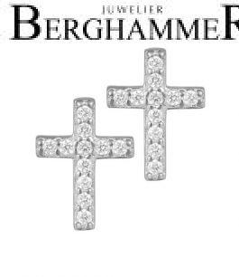LaViida Ohrschmuck Kreuz 925 Silber rhodiniert ELU637RH 40500091