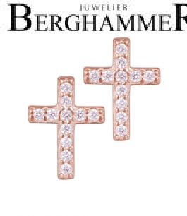 LaViida Ohrschmuck Kreuz 925 Silber roségold vergoldet ELU637RG 40500092