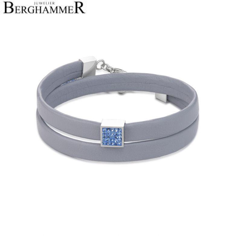 Armband Leder & Kristalle Pavé hellblau