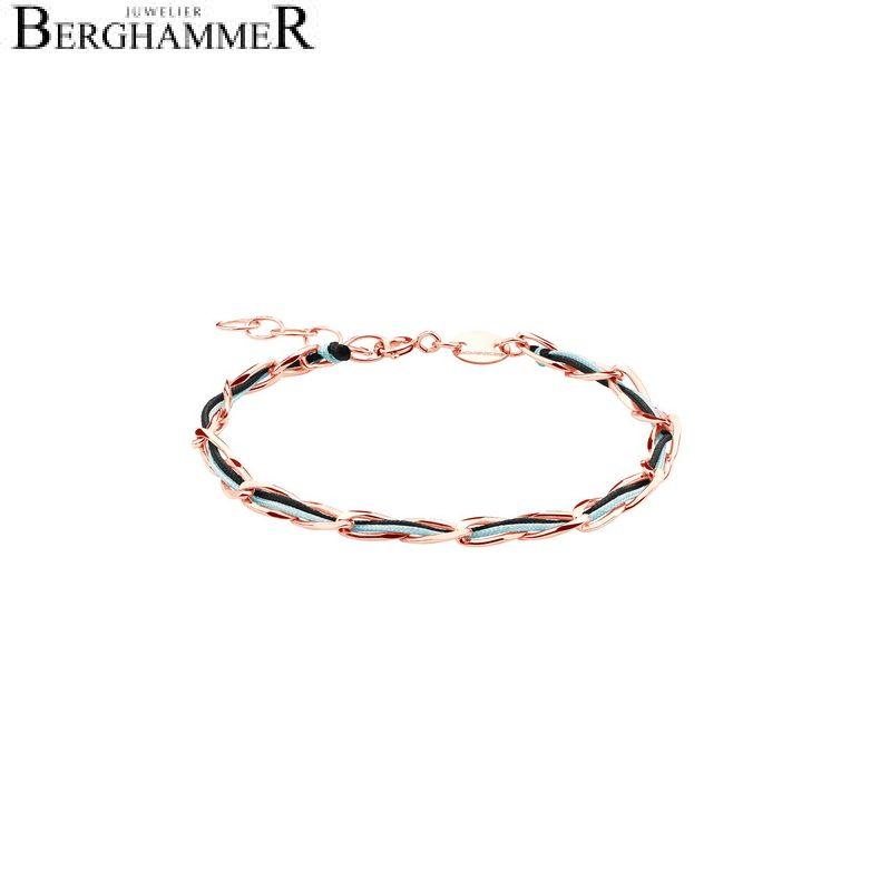 Unico Armband Schwarz/Türkis 925 Silber roségold vergoldet 20200935