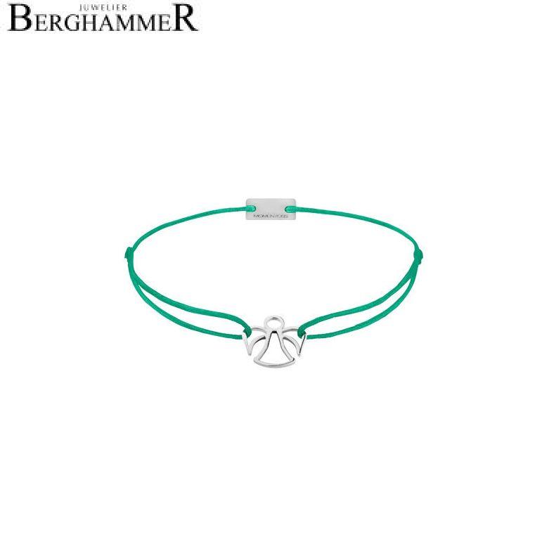 Filo Armband Textil Grasgrün Engel 925 Silber rhodiniert 21200644