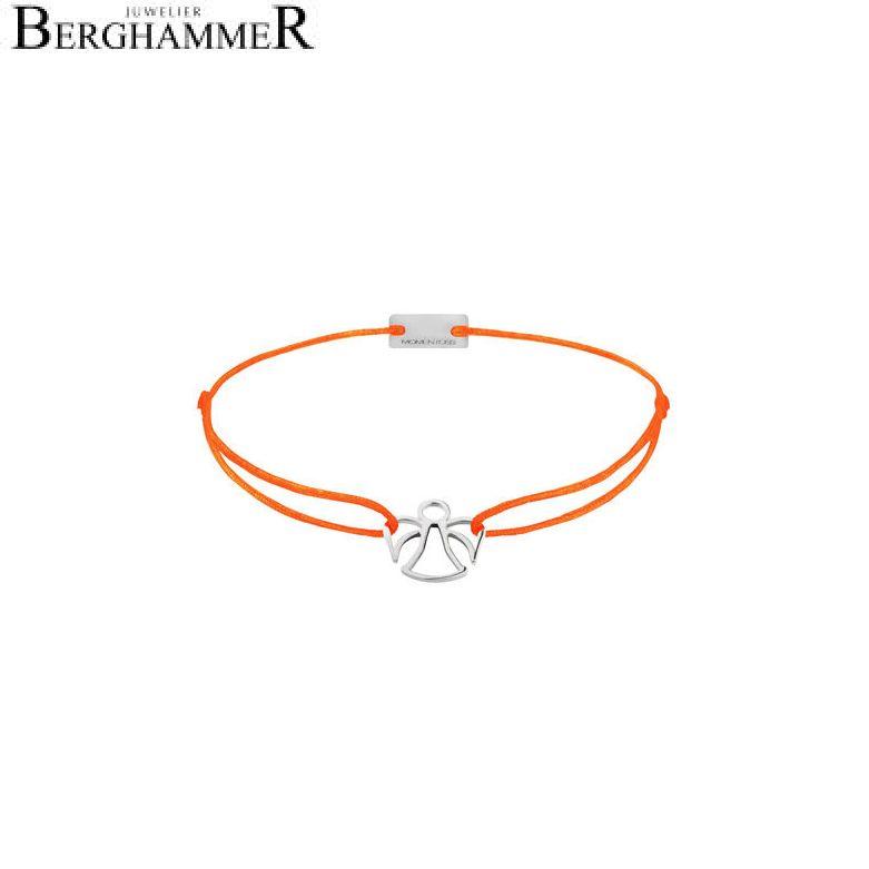 Filo Armband Textil Neon-Orange Engel 925 Silber rhodiniert 21200648