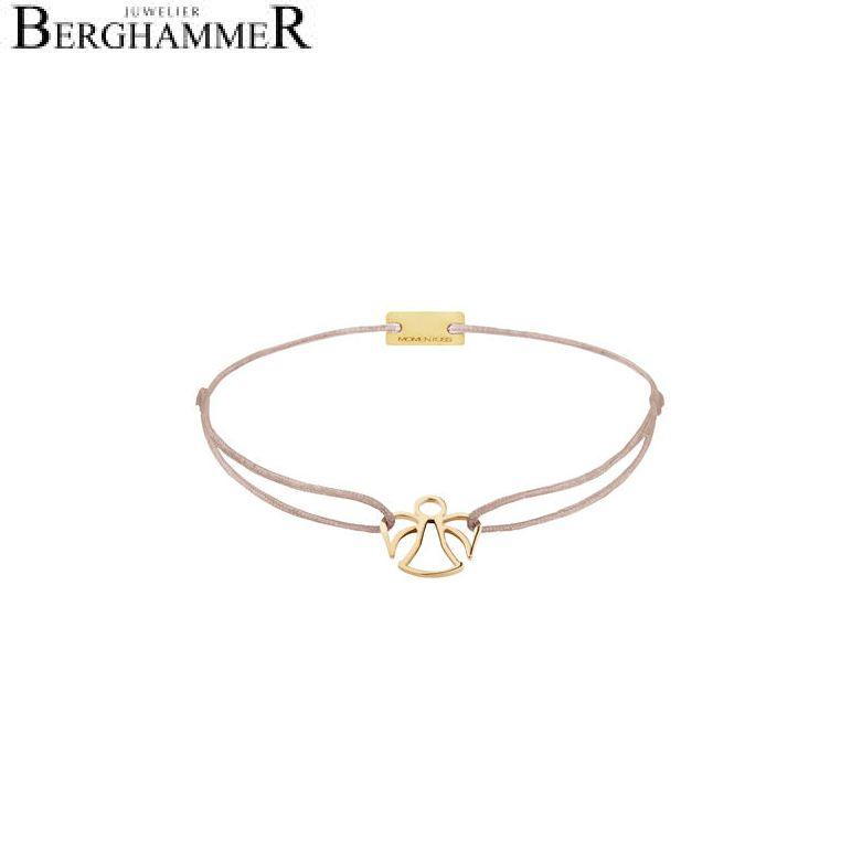 Filo Armband Textil Beige Engel 925 Silber gelbgold vergoldet 21200657