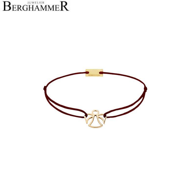Filo Armband Textil Braun Engel 925 Silber gelbgold vergoldet 21200658