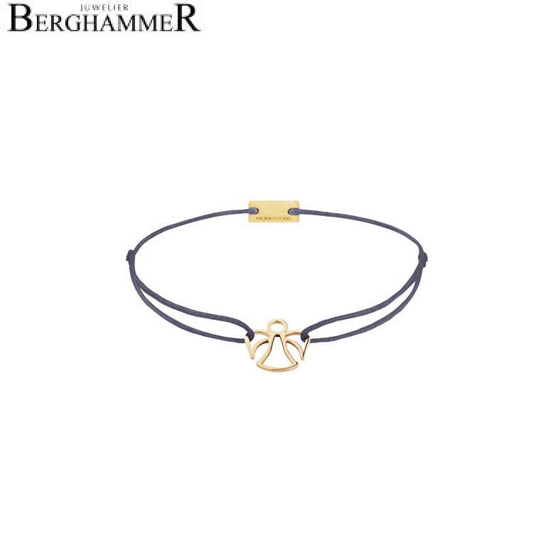 Filo Armband Textil Grau-Lila Engel 925 Silber gelbgold vergoldet 21200659