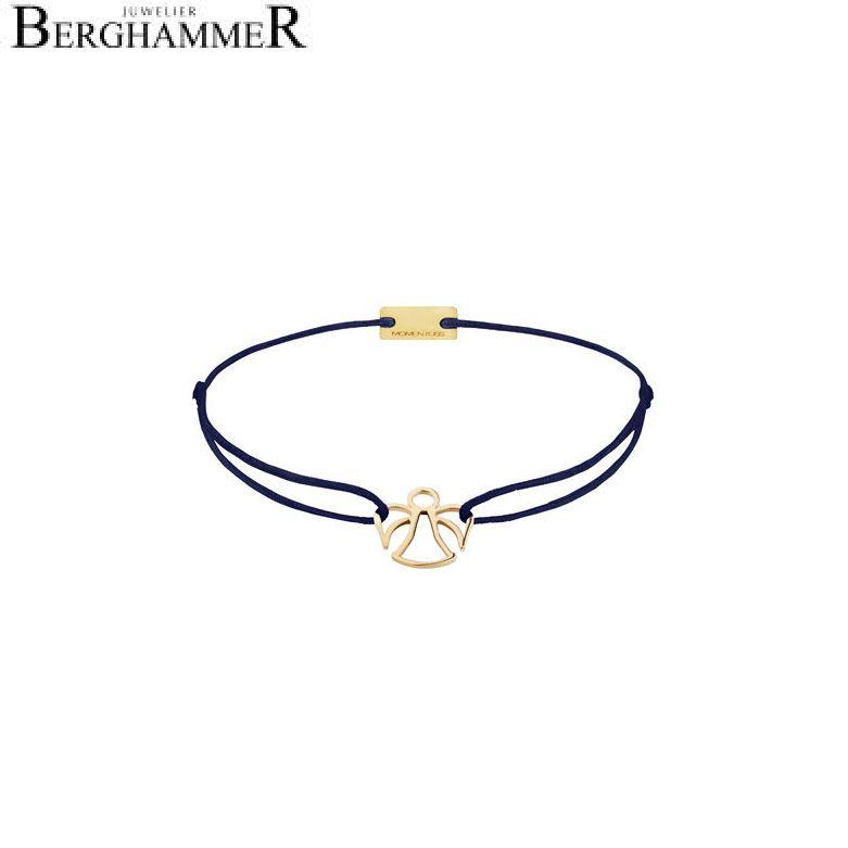 Filo Armband Textil Dunkelblau Engel 925 Silber gelbgold vergoldet 21200666