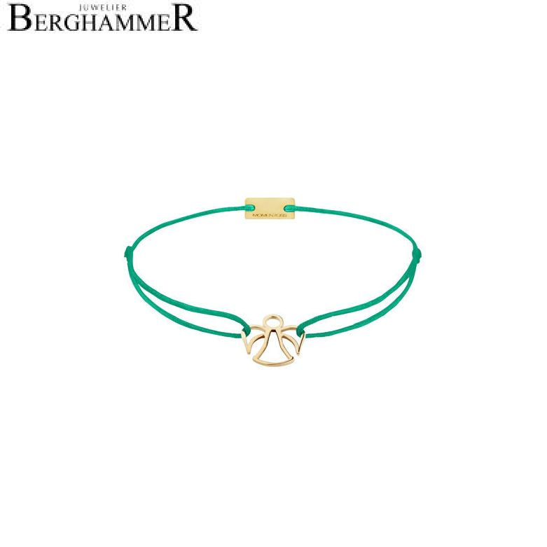 Filo Armband Textil Grasgrün Engel 925 Silber gelbgold vergoldet 21200668