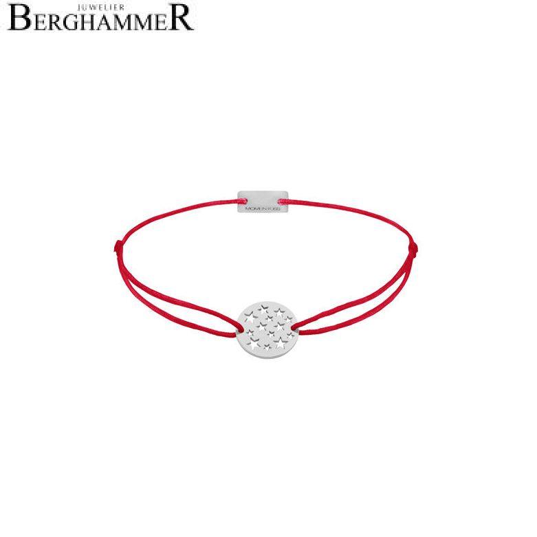 Filo Armband Textil Rot Sterne 925 Silber rhodiniert 21202598