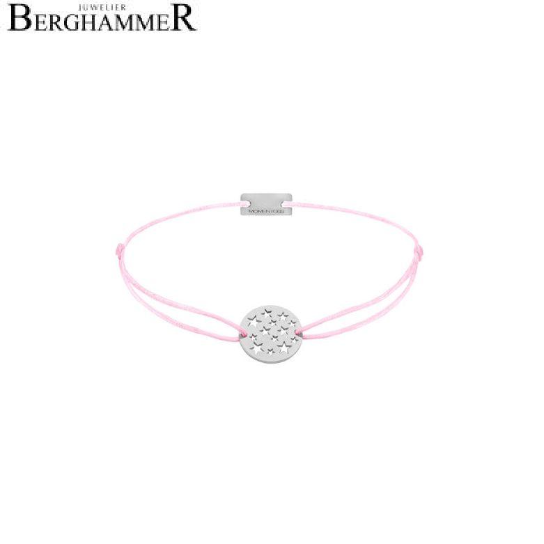 Filo Armband Textil Rosa Sterne 925 Silber rhodiniert 21202601