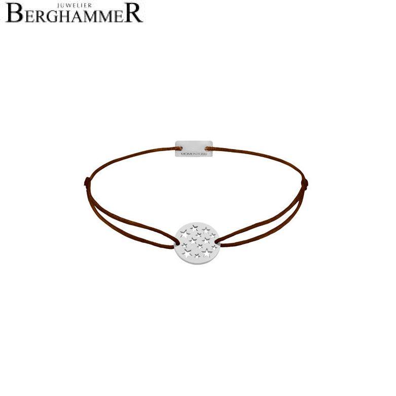 Filo Armband Textil Braun Sterne 925 Silber rhodiniert 21202605