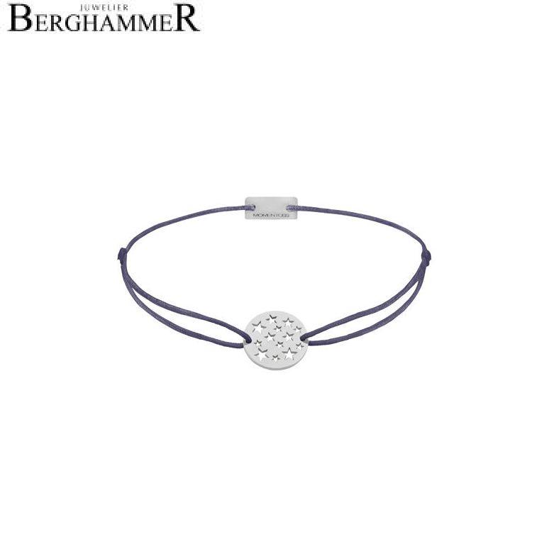 Filo Armband Textil Grau-Lila Sterne 925 Silber rhodiniert 21202606