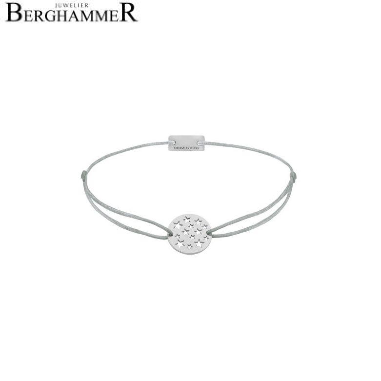 Filo Armband Textil Hellgrau Sterne 925 Silber rhodiniert 21202608