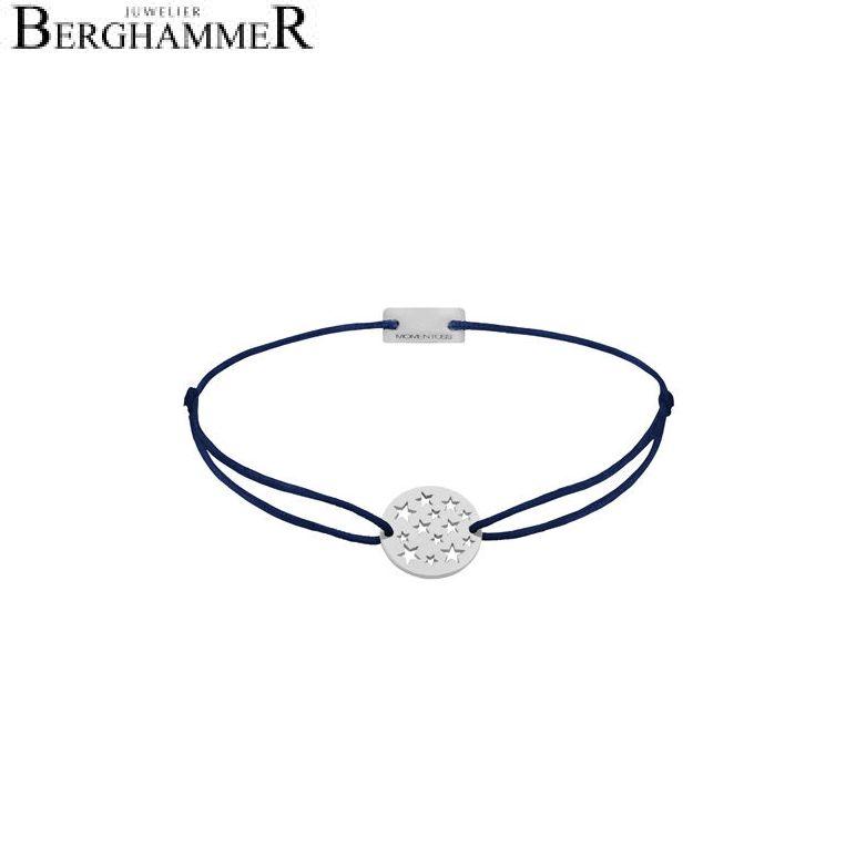 Filo Armband Textil Dunkelblau Sterne 925 Silber rhodiniert 21202613