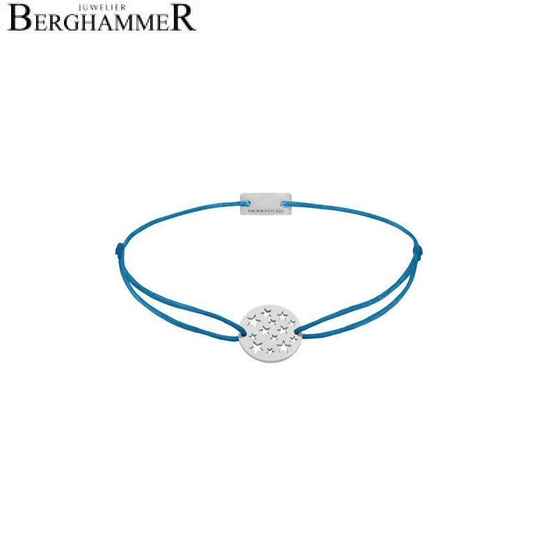 Filo Armband Textil Petrol Sterne 925 Silber rhodiniert 21202614