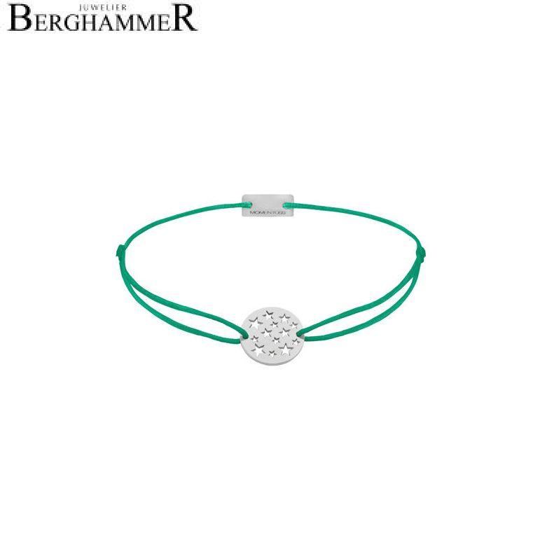 Filo Armband Textil Grasgrün Sterne 925 Silber rhodiniert 21202615