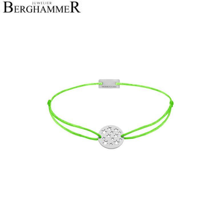 Filo Armband Textil Neon-Grün Sterne 925 Silber rhodiniert 21202616