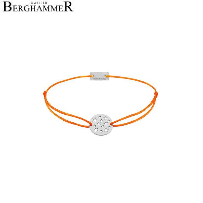 Filo Armband Textil Neon-Orange Sterne 925 Silber rhodiniert 21202621