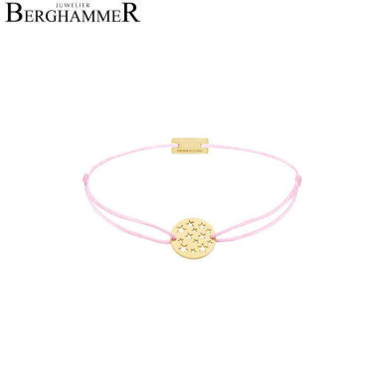 Filo Armband Textil Rosa Sterne 925 Silber gelbgold vergoldet 21202625