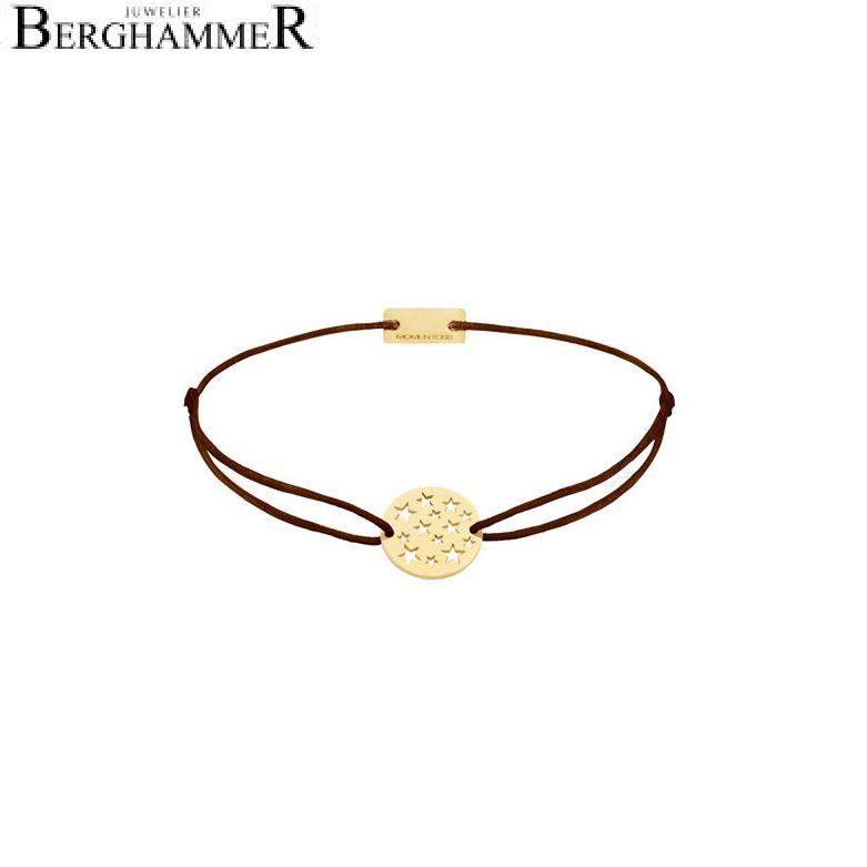 Filo Armband Textil Braun Sterne 925 Silber gelbgold vergoldet 21202629