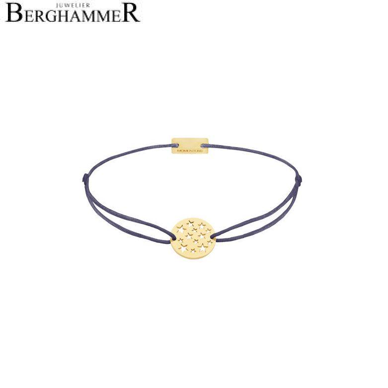 Filo Armband Textil Grau-Lila Sterne 925 Silber gelbgold vergoldet 21202630