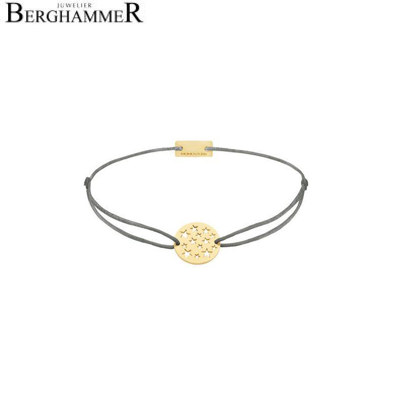 Filo Armband Textil Anthrazit Sterne 925 Silber gelbgold vergoldet 21202631